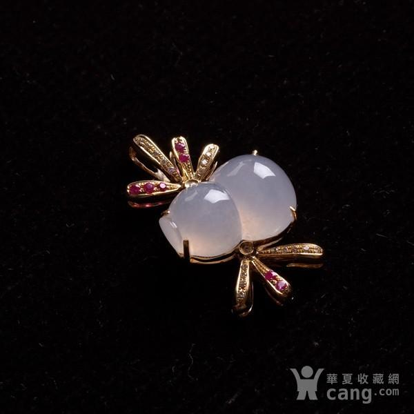 紫云 冰荧翡翠葫芦红宝石黄金伴钻吊坠图5