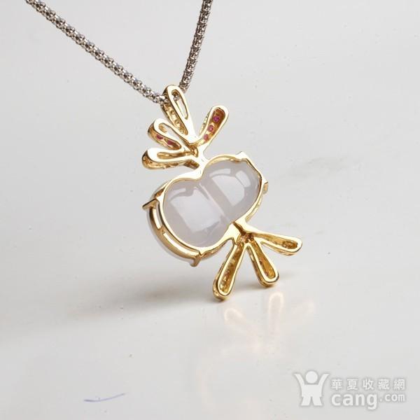 紫云 冰荧翡翠葫芦红宝石黄金伴钻吊坠图8