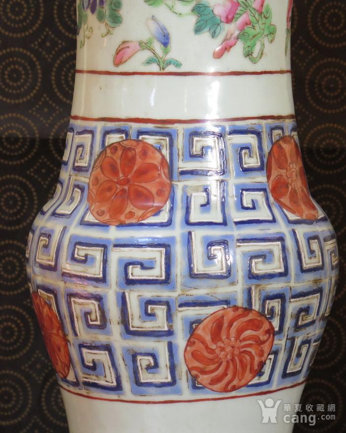 清代40cm同治饕餮回纹粉彩大花觚图3