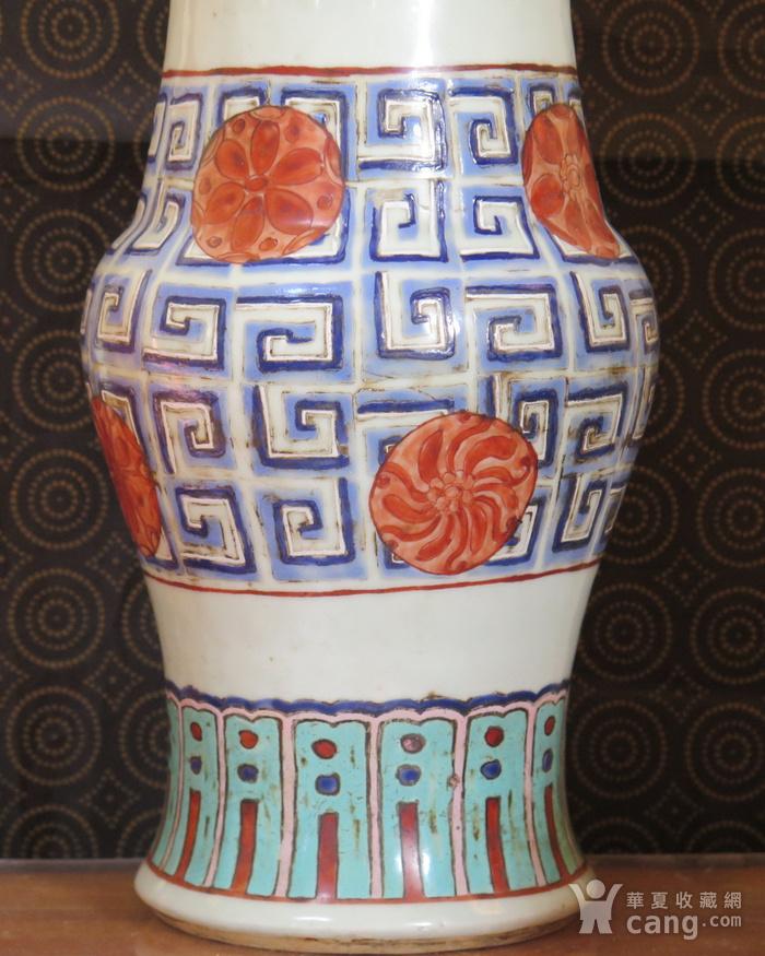 清代40cm同治饕餮回纹粉彩大花觚图5