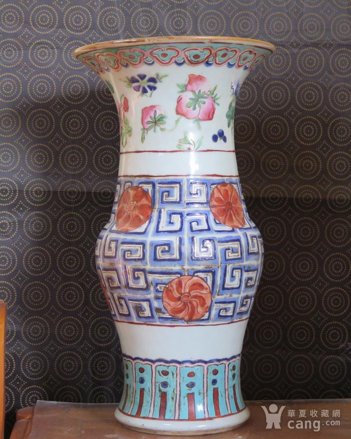 清代40cm同治饕餮回纹粉彩大花觚图6