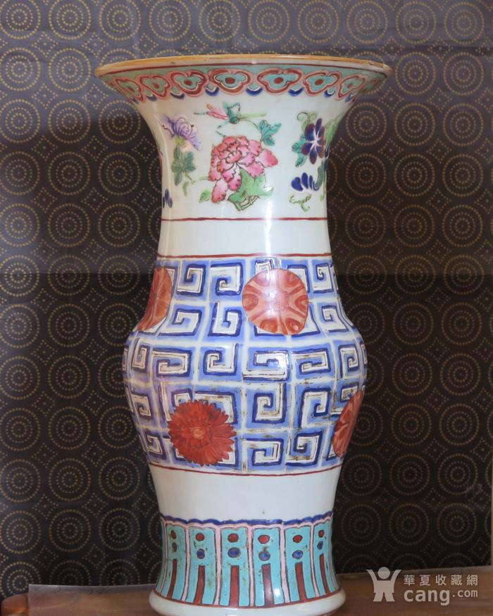 清代40cm同治饕餮回纹粉彩大花觚图8