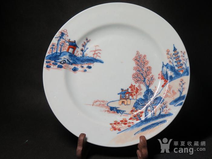 清代雍正山水风景描金彩粉大盘图1