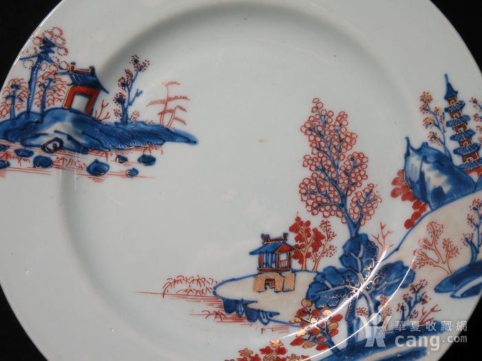 清代雍正山水风景描金彩粉大盘图2