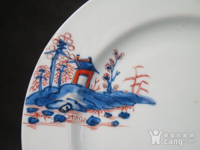 清代雍正山水风景描金彩粉大盘图3
