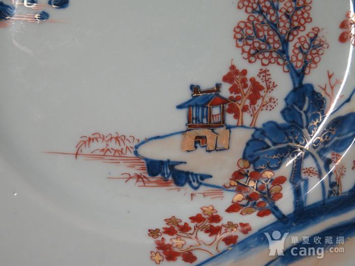 清代雍正山水风景描金彩粉大盘图4