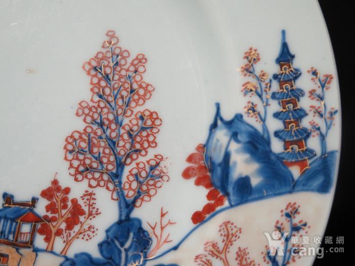 清代雍正山水风景描金彩粉大盘图5