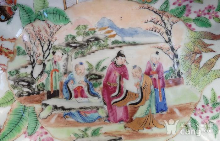 清晚期广彩精品开窗海棠型盘图2