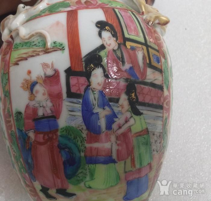 清咸丰广彩人物双耳瓶图8