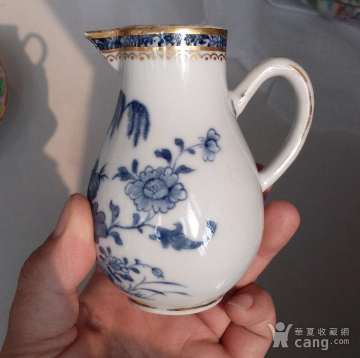 清乾隆青花描金牡丹花卉奶杯图2