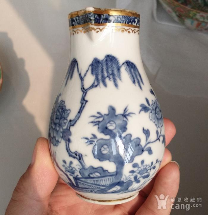 清乾隆青花描金牡丹花卉奶杯图3