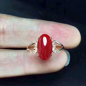 天然红珊瑚戒指假一赔万