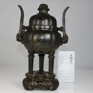 清中期官帽耳高足篆书款铜炉
