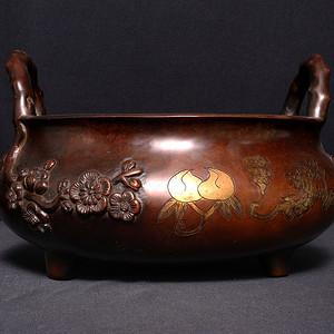 民国精美紫铜梅花大铜炉 AB231
