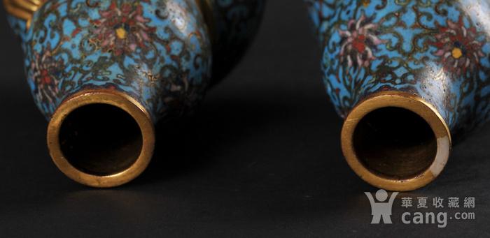 欧美回流 精美铜胎掐丝珐琅缠枝花卉纹葫芦瓶一对图3
