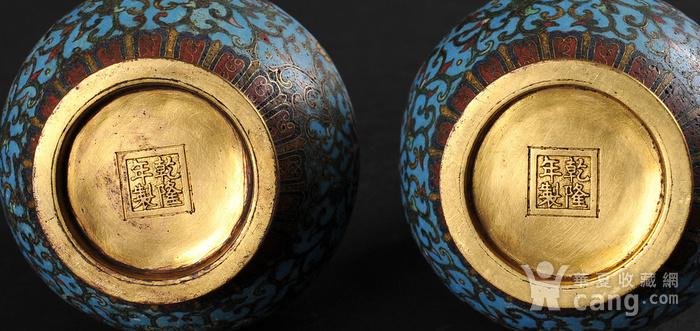 欧美回流 精美铜胎掐丝珐琅缠枝花卉纹葫芦瓶一对图4