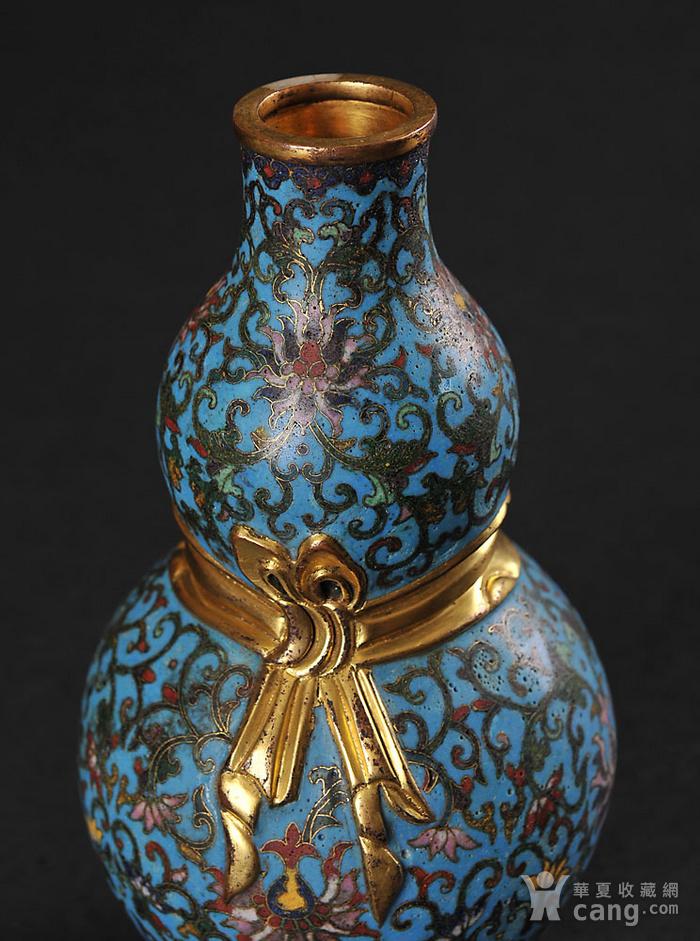 欧美回流 精美铜胎掐丝珐琅缠枝花卉纹葫芦瓶一对图5