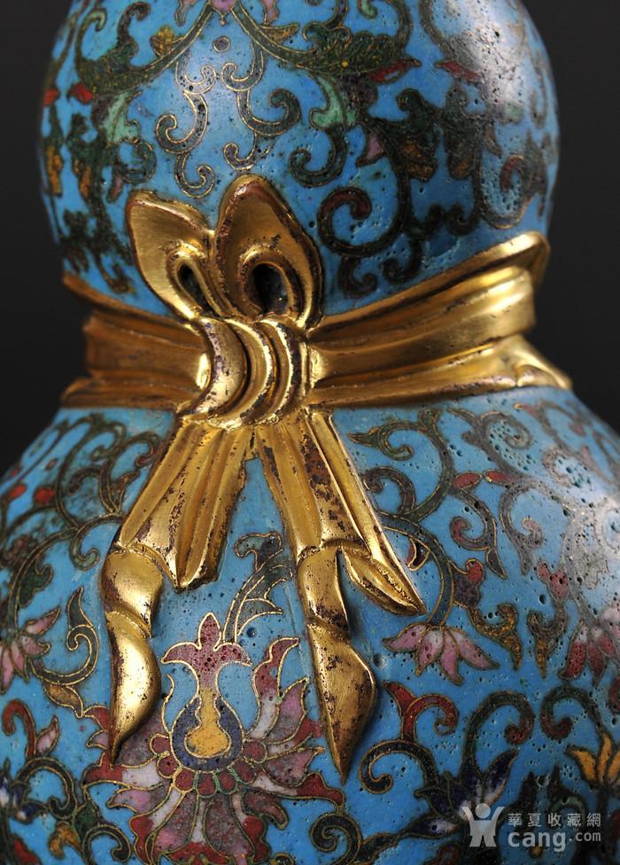 欧美回流 精美铜胎掐丝珐琅缠枝花卉纹葫芦瓶一对图6