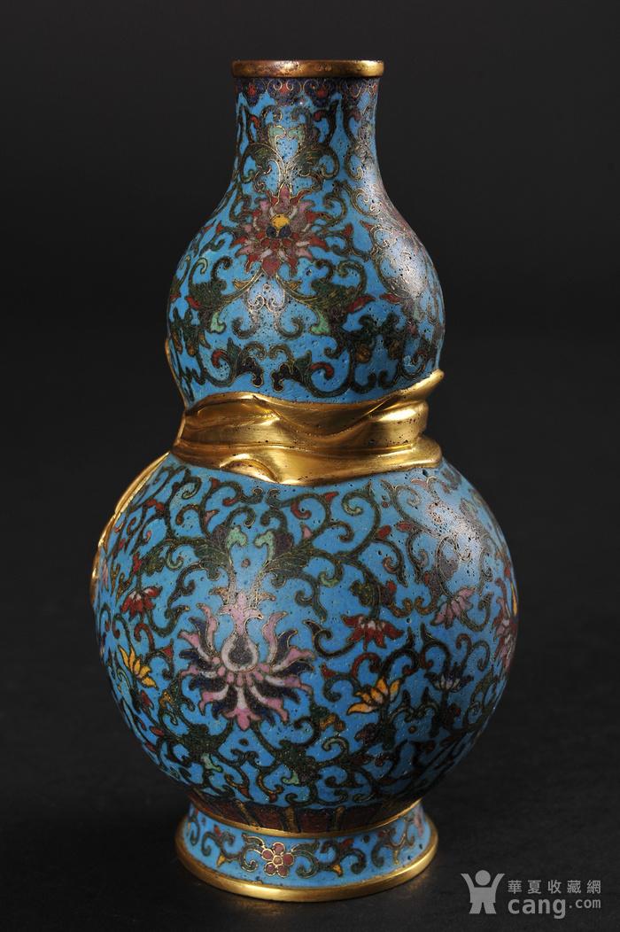 欧美回流 精美铜胎掐丝珐琅缠枝花卉纹葫芦瓶一对图7