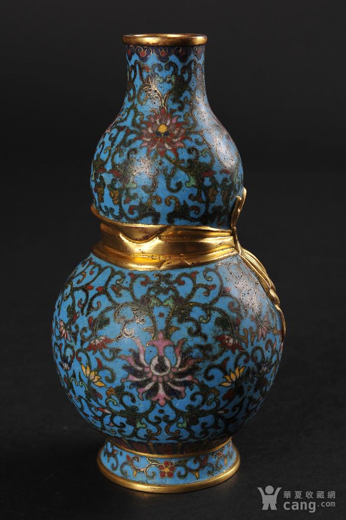 欧美回流 精美铜胎掐丝珐琅缠枝花卉纹葫芦瓶一对图8