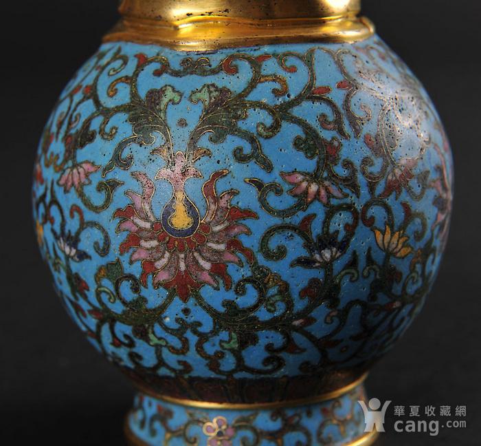 欧美回流 精美铜胎掐丝珐琅缠枝花卉纹葫芦瓶一对图9