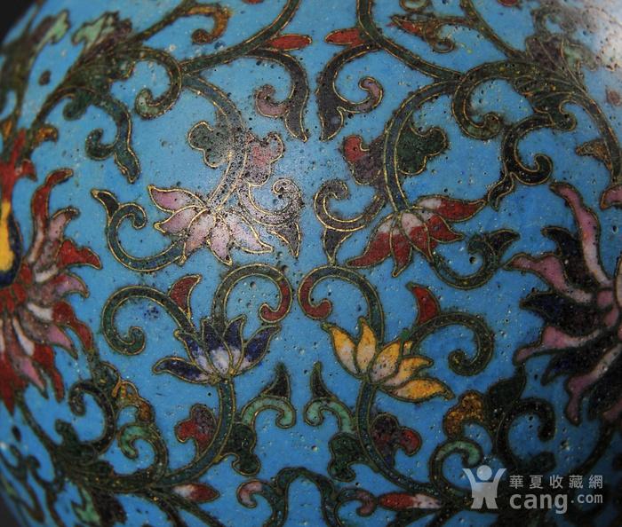 欧美回流 精美铜胎掐丝珐琅缠枝花卉纹葫芦瓶一对图10
