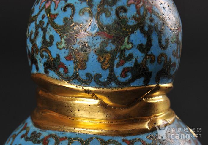 欧美回流 精美铜胎掐丝珐琅缠枝花卉纹葫芦瓶一对图11