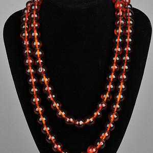 欧美回流 天然琥珀圆珠项链