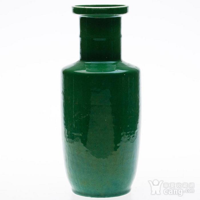 欧美回流 晚清 苹果绿釉棒槌瓶图1
