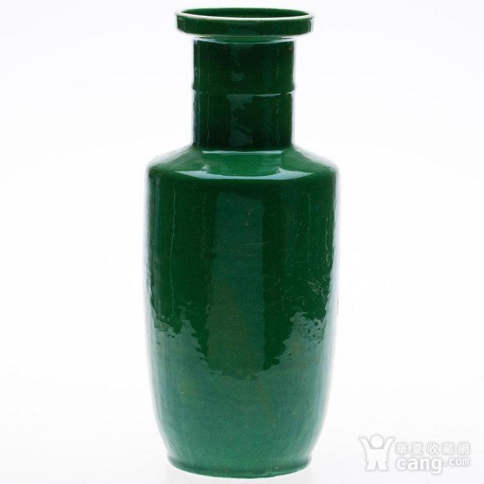 欧美回流 晚清 苹果绿釉棒槌瓶图2