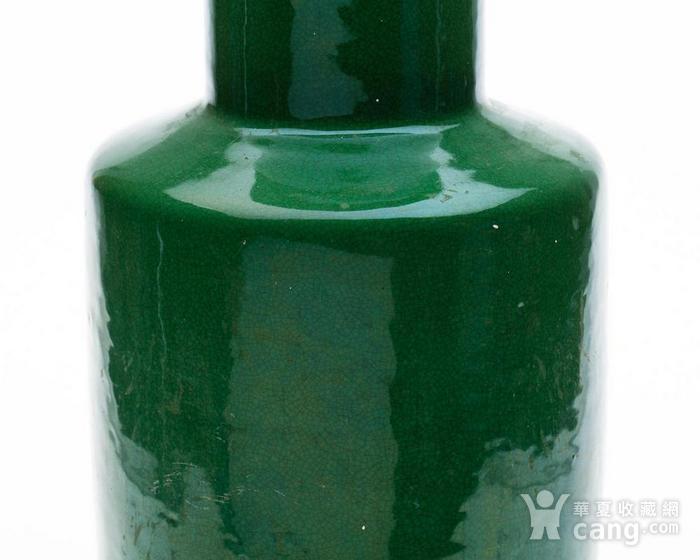 欧美回流 晚清 苹果绿釉棒槌瓶图5