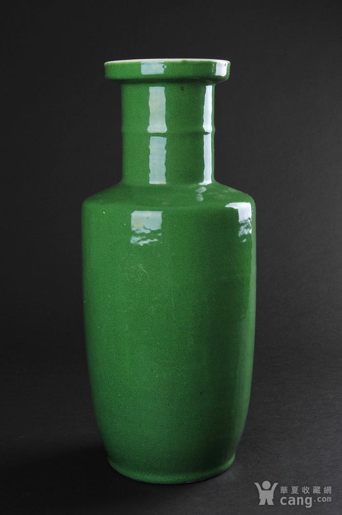 欧美回流 晚清 苹果绿釉棒槌瓶图9