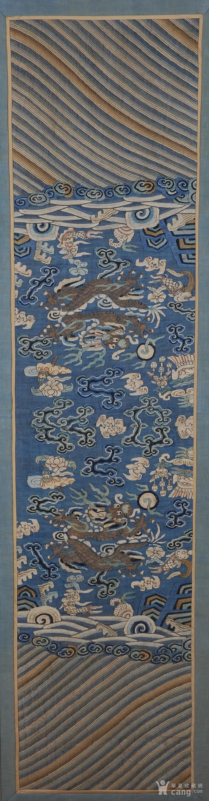 欧美回流 清 缂丝云龙海水纹条幅图1
