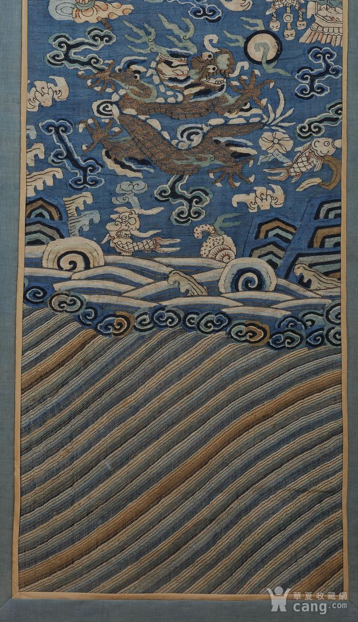欧美回流 清 缂丝云龙海水纹条幅图5