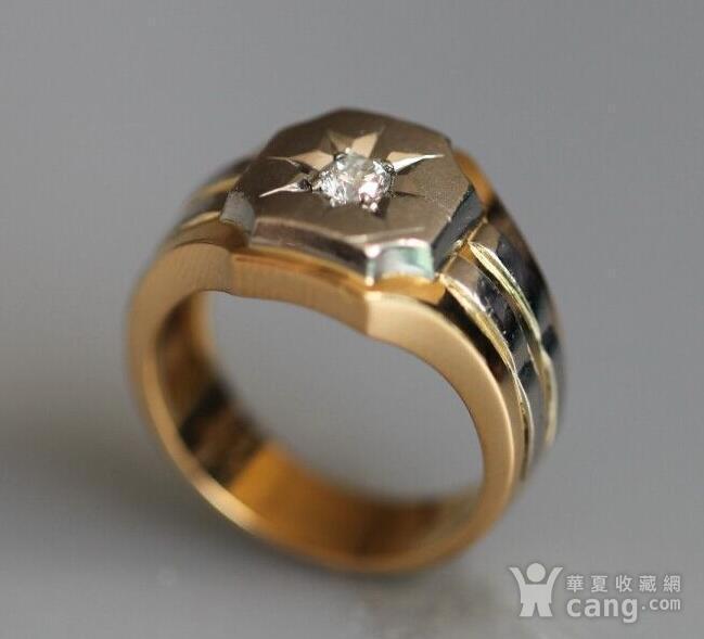 回流,独钻,双金,男式大戒指图2