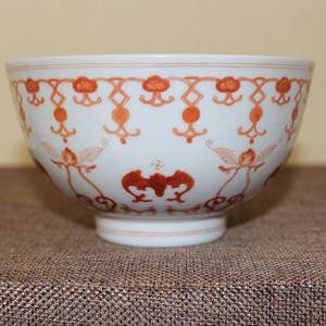清光绪官窑矾红福寿碗