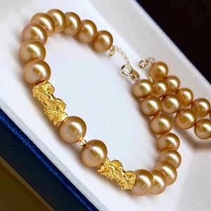 天然金珍珠手链配24k金貔貅 假一赔万