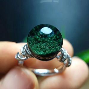 天然绿幽灵聚宝盆戒指