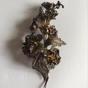 欧洲茉莉回流 NO.16 老银蕾丝花形状大银胸针 13.5g