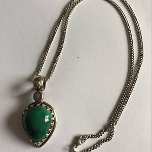 欧洲茉莉回流 No.17 老银松石纯银项链镶嵌紫水晶 14.5g