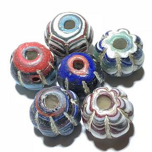 清 挤丝纹 琉璃南瓜珠 六枚 工艺 精美 花色漂亮