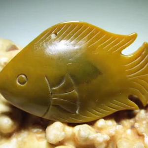 小有年头 色肉俱佳 黄稿玛瑙 富贵招财鱼 挂件 天然密布元宝纹