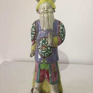 清代广彩武将人物瓷人