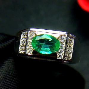 珠宝 纯天然哥伦比亚祖母绿戒指