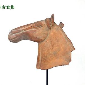 唐 红陶马头