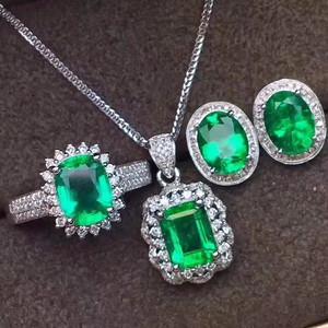 珠宝 天然哥伦比亚祖母绿套装