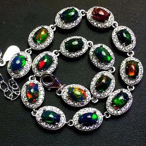 珠宝 天然黑欧泊手链