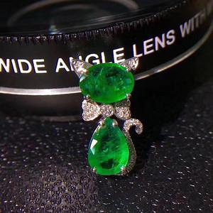 珠宝 纯天然哥伦比亚祖母绿猫咪吊坠