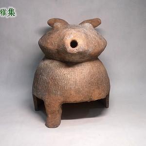 西周 红陶熊型兽首壶