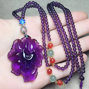 天然紫水晶九尾狐吊坠